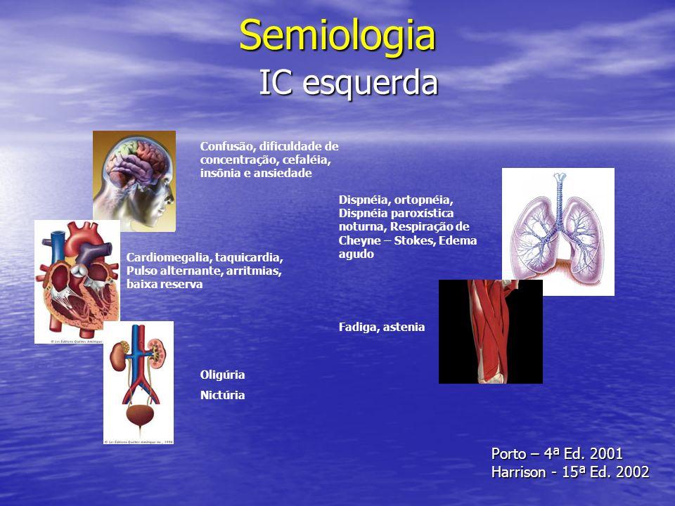 Semiologia IC esquerda Porto – 4ª Ed. 2001 Harrison - 15ª Ed. 2002