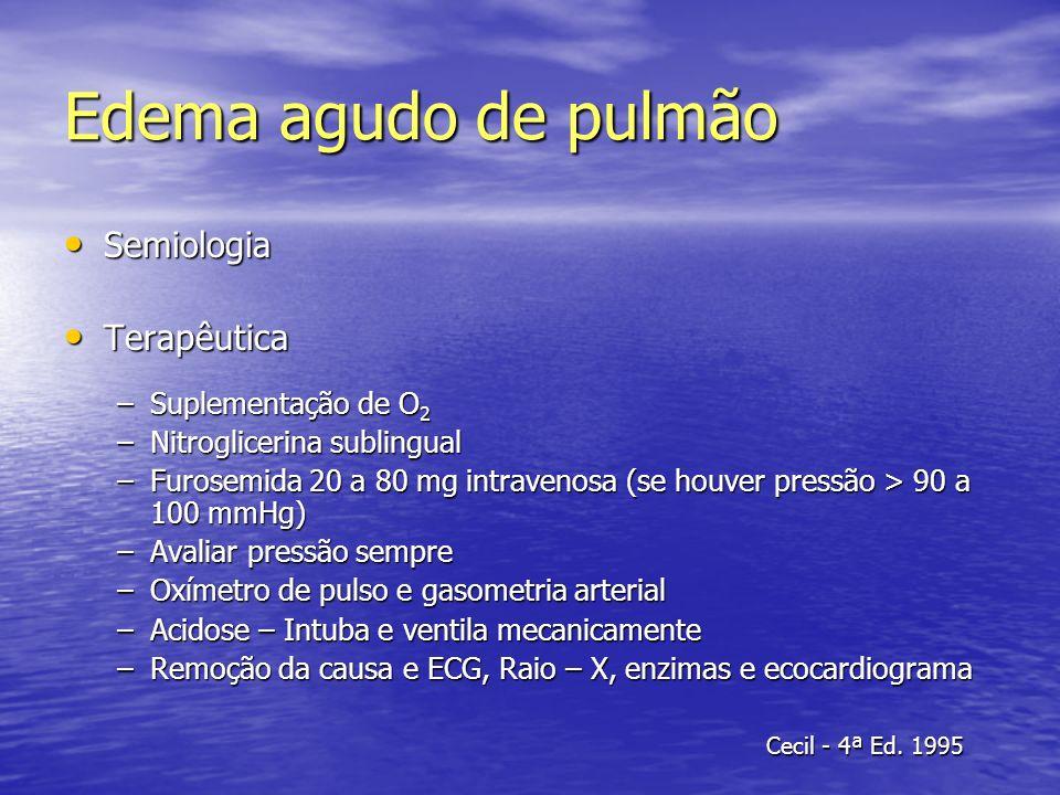 Edema agudo de pulmão Semiologia Terapêutica Suplementação de O2