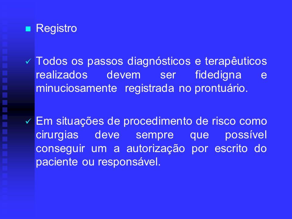 Registro Todos os passos diagnósticos e terapêuticos realizados devem ser fidedigna e minuciosamente registrada no prontuário.