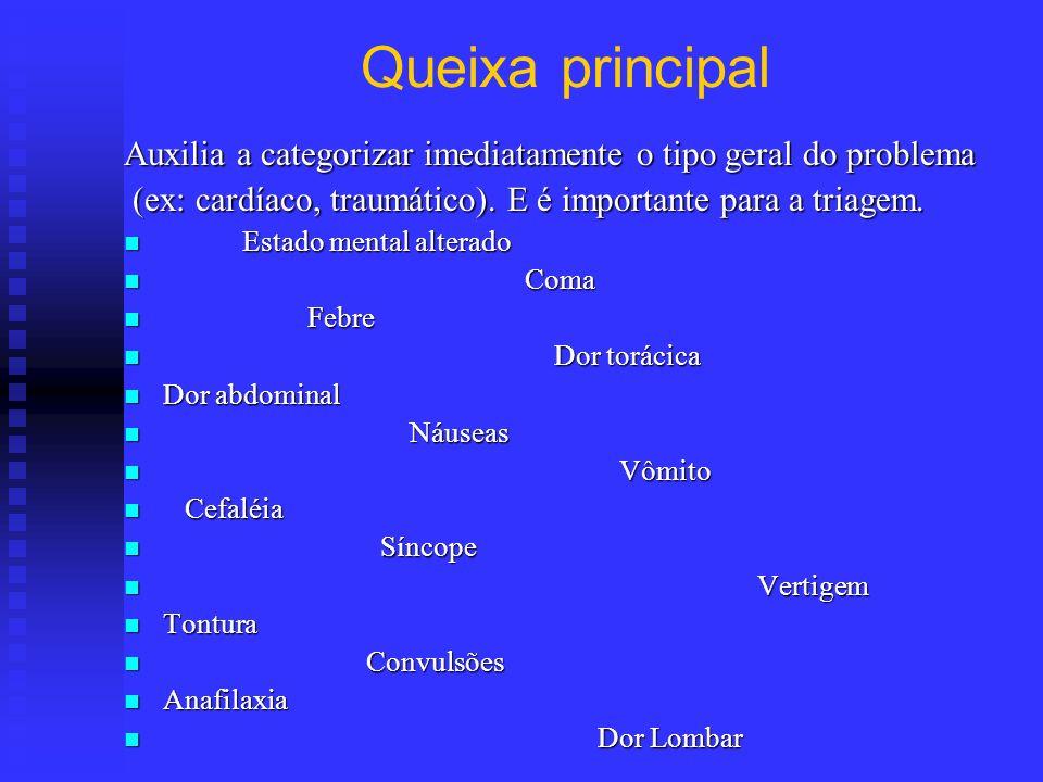 Queixa principal Auxilia a categorizar imediatamente o tipo geral do problema. (ex: cardíaco, traumático). E é importante para a triagem.