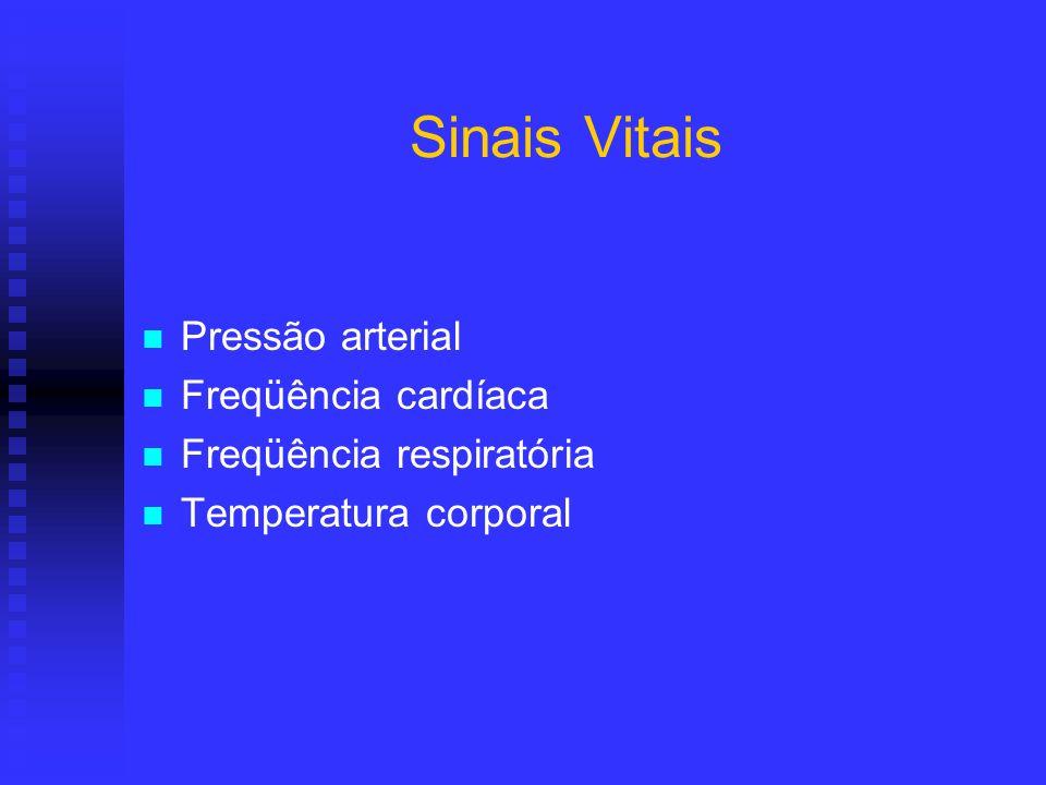 Sinais Vitais Pressão arterial Freqüência cardíaca