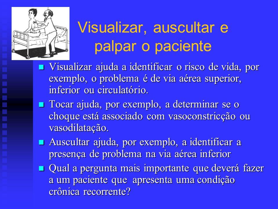Visualizar, auscultar e palpar o paciente