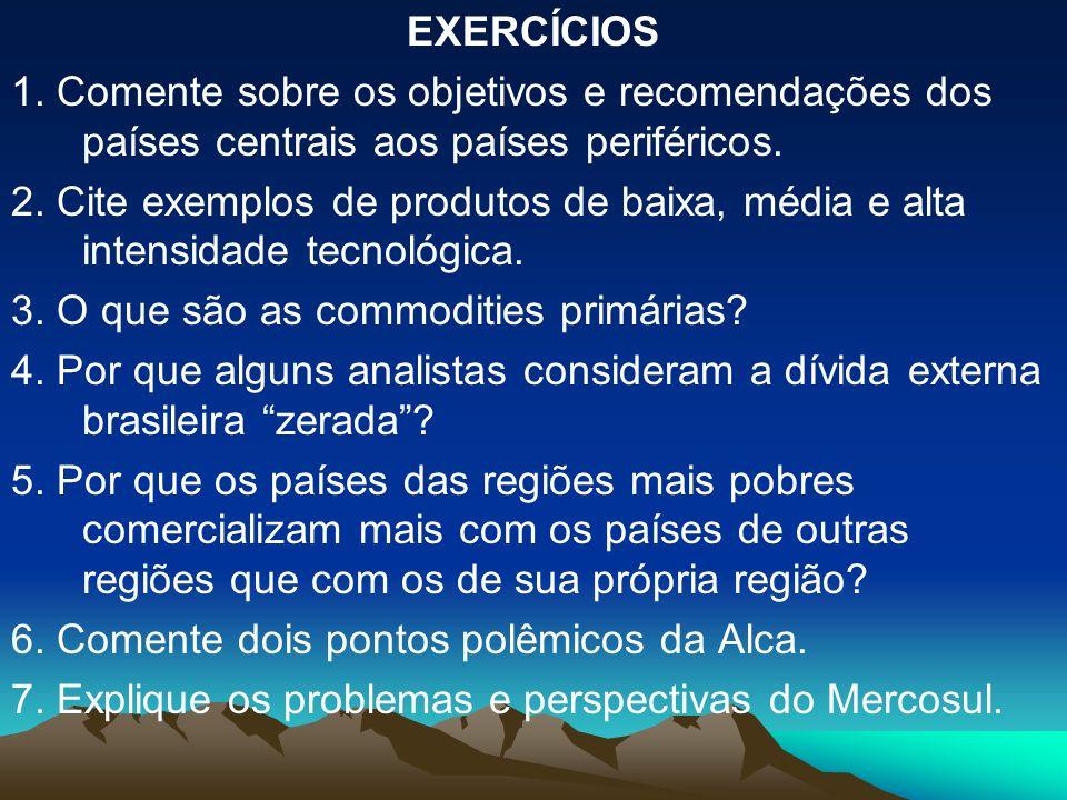 EXERCÍCIOS 1. Comente sobre os objetivos e recomendações dos países centrais aos países periféricos.