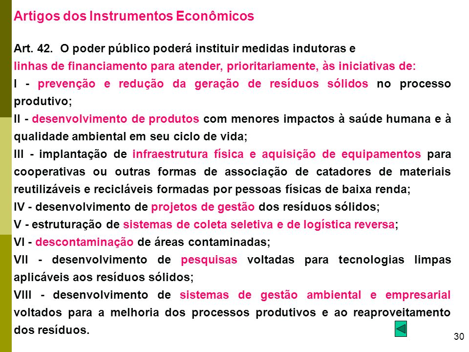 Artigos dos Instrumentos Econômicos