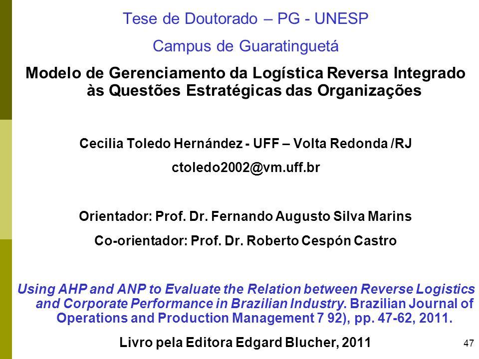 Tese de Doutorado – PG - UNESP Campus de Guaratinguetá