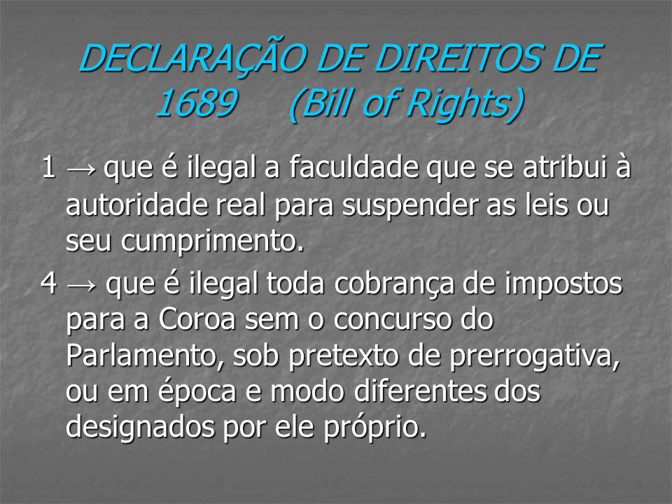 DECLARAÇÃO DE DIREITOS DE 1689 (Bill of Rights)