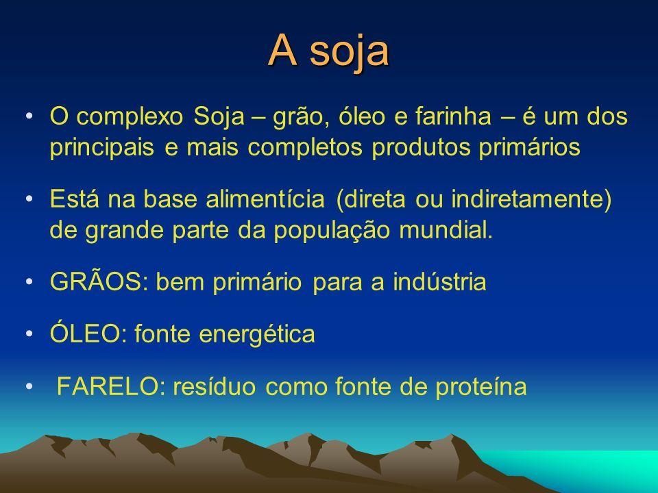 A soja O complexo Soja – grão, óleo e farinha – é um dos principais e mais completos produtos primários.