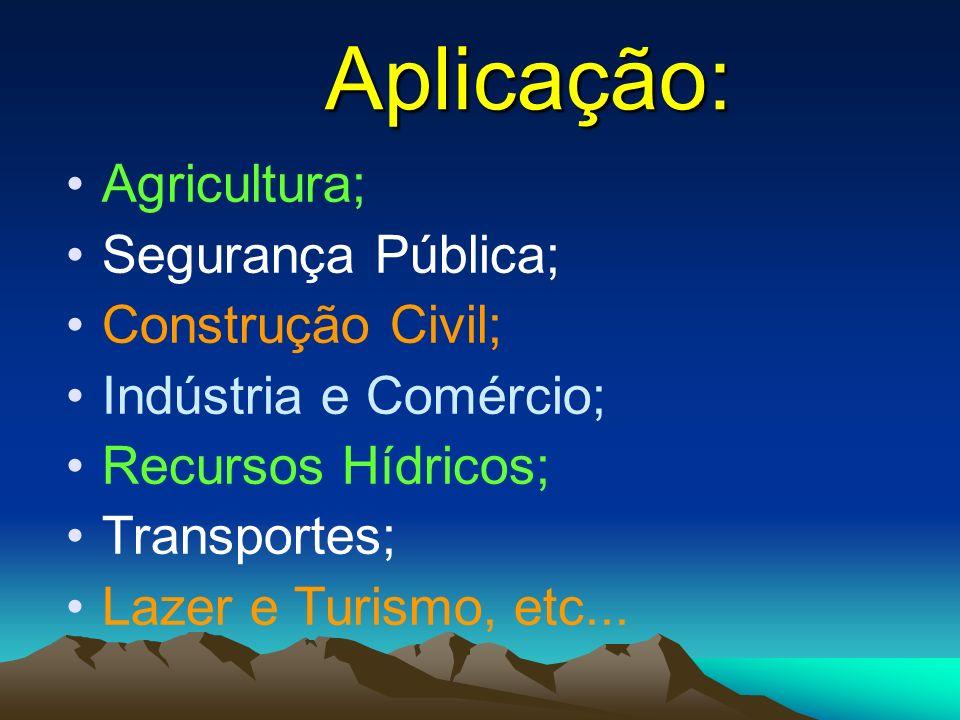 Aplicação: Agricultura; Segurança Pública; Construção Civil;