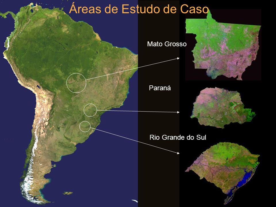 Áreas de Estudo de Caso Mato Grosso Paraná Rio Grande do Sul