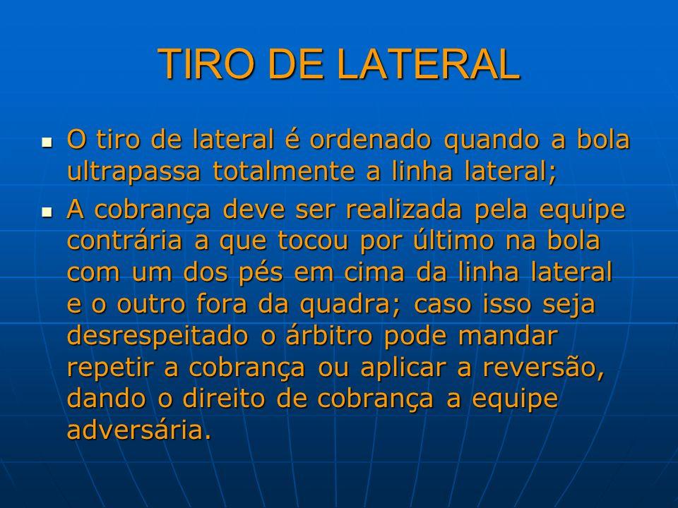 TIRO DE LATERALO tiro de lateral é ordenado quando a bola ultrapassa totalmente a linha lateral;