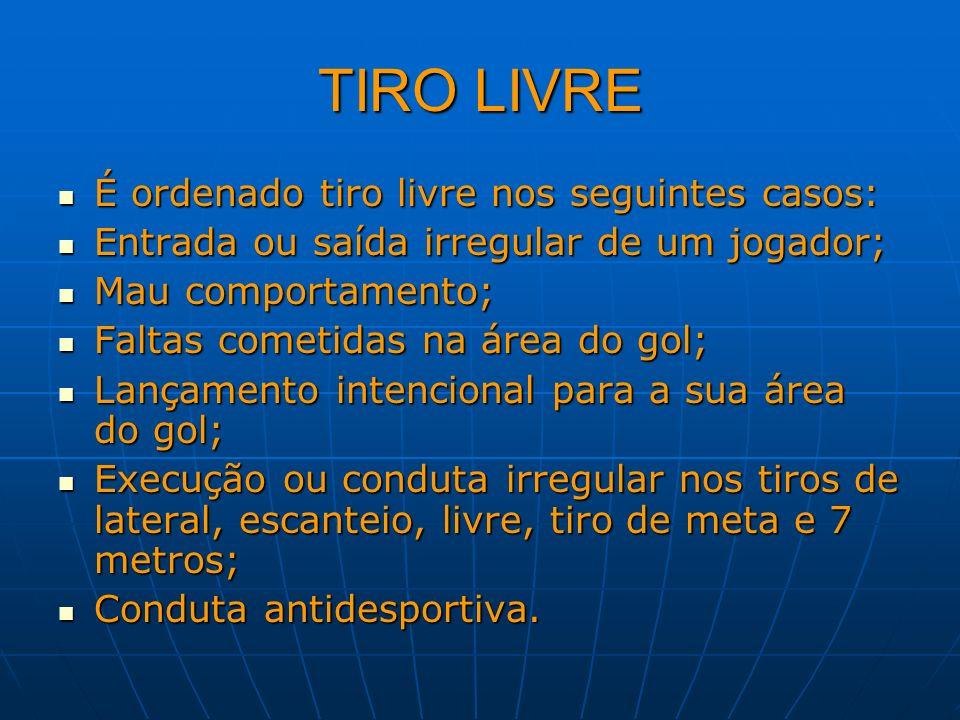 TIRO LIVRE É ordenado tiro livre nos seguintes casos: