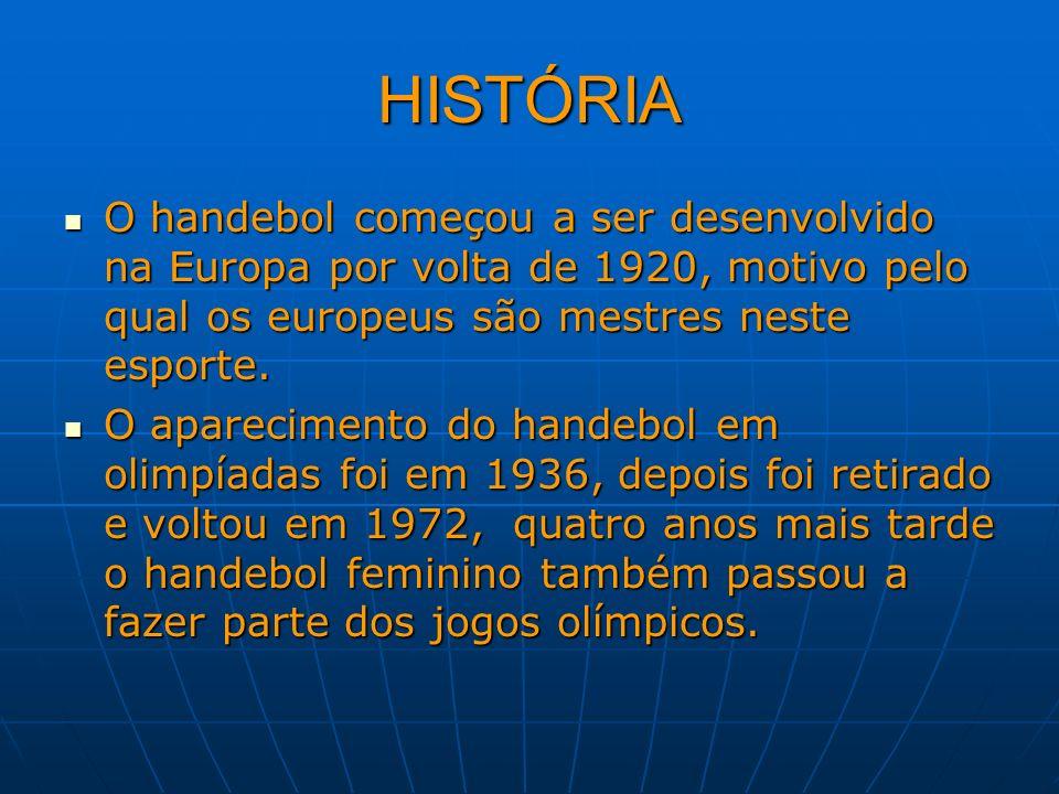HISTÓRIAO handebol começou a ser desenvolvido na Europa por volta de 1920, motivo pelo qual os europeus são mestres neste esporte.
