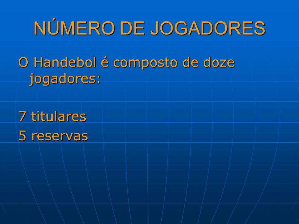 NÚMERO DE JOGADORES O Handebol é composto de doze jogadores: