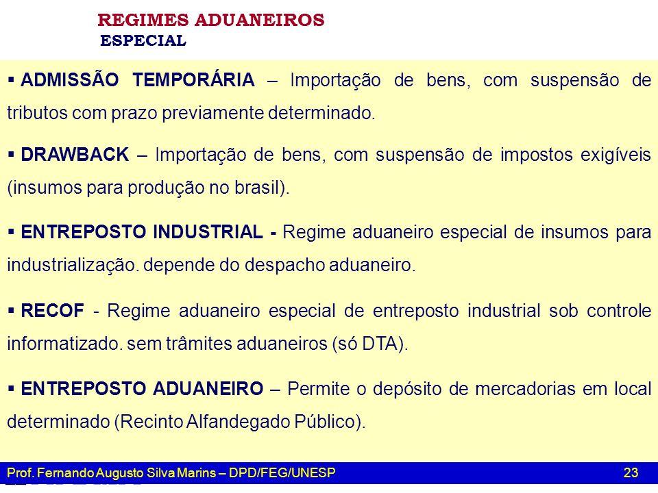 REGIMES ADUANEIROS ESPECIAL. ADMISSÃO TEMPORÁRIA – Importação de bens, com suspensão de tributos com prazo previamente determinado.