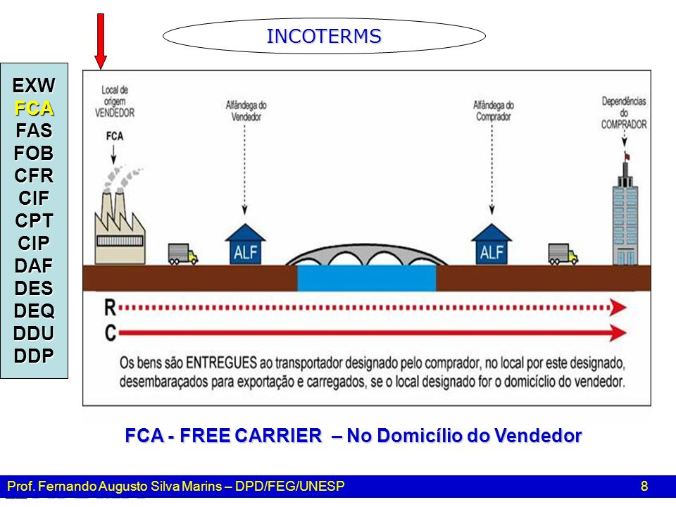 FCA - FREE CARRIER – No Domicílio do Vendedor