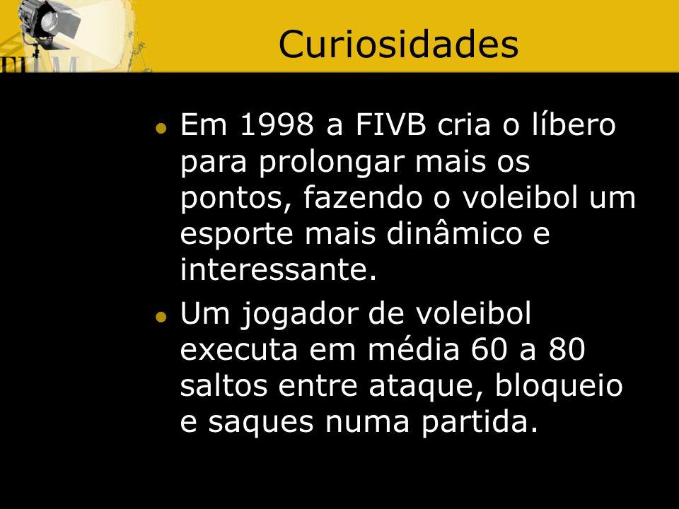 Curiosidades Em 1998 a FIVB cria o líbero para prolongar mais os pontos, fazendo o voleibol um esporte mais dinâmico e interessante.