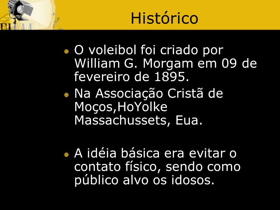 Histórico O voleibol foi criado por William G. Morgam em 09 de fevereiro de 1895. Na Associação Cristã de Moços,HoYolke Massachussets, Eua.