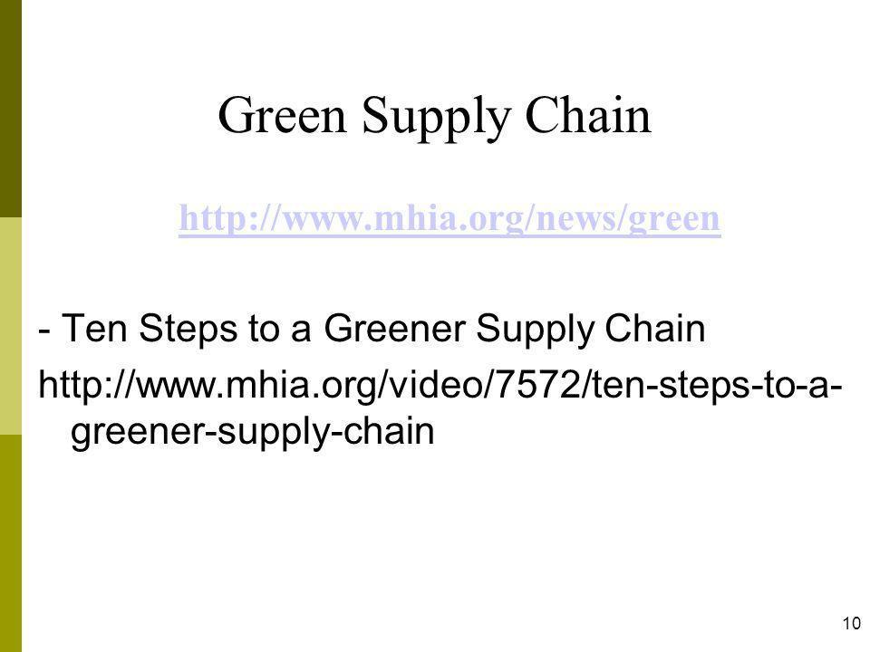 Green Supply Chain http://www.mhia.org/news/green