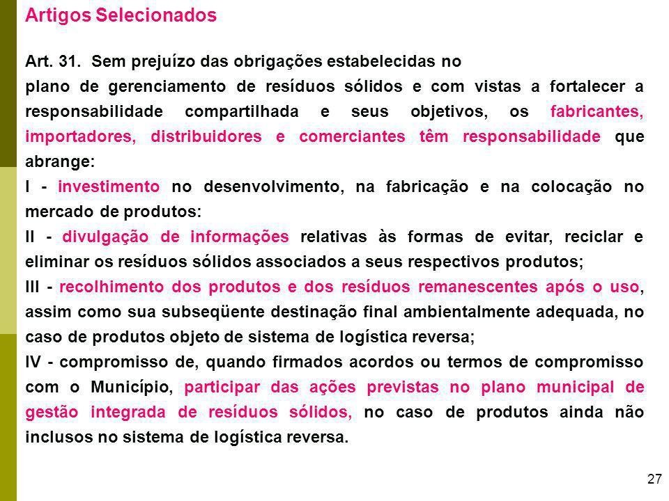 Artigos Selecionados Art. 31. Sem prejuízo das obrigações estabelecidas no.