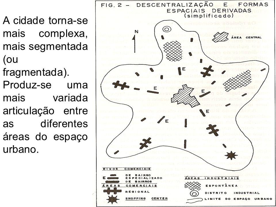 A cidade torna-se mais complexa, mais segmentada (ou fragmentada)