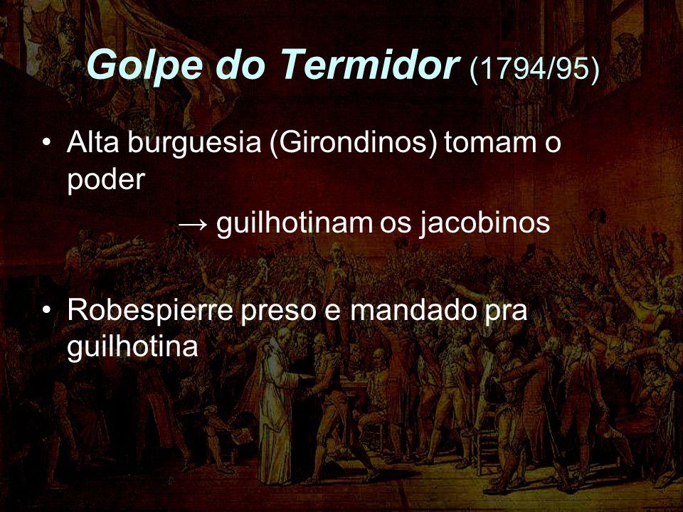 Golpe do Termidor (1794/95) Alta burguesia (Girondinos) tomam o poder