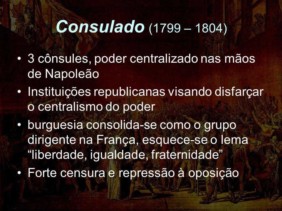 Consulado (1799 – 1804) 3 cônsules, poder centralizado nas mãos de Napoleão. Instituições republicanas visando disfarçar o centralismo do poder.