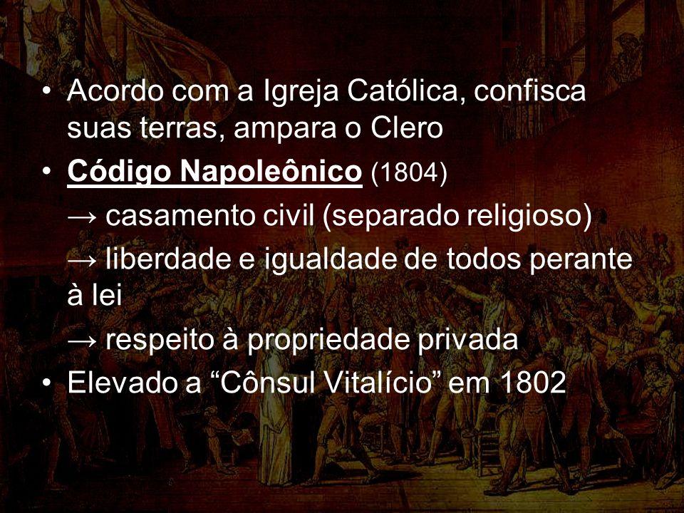 Acordo com a Igreja Católica, confisca suas terras, ampara o Clero