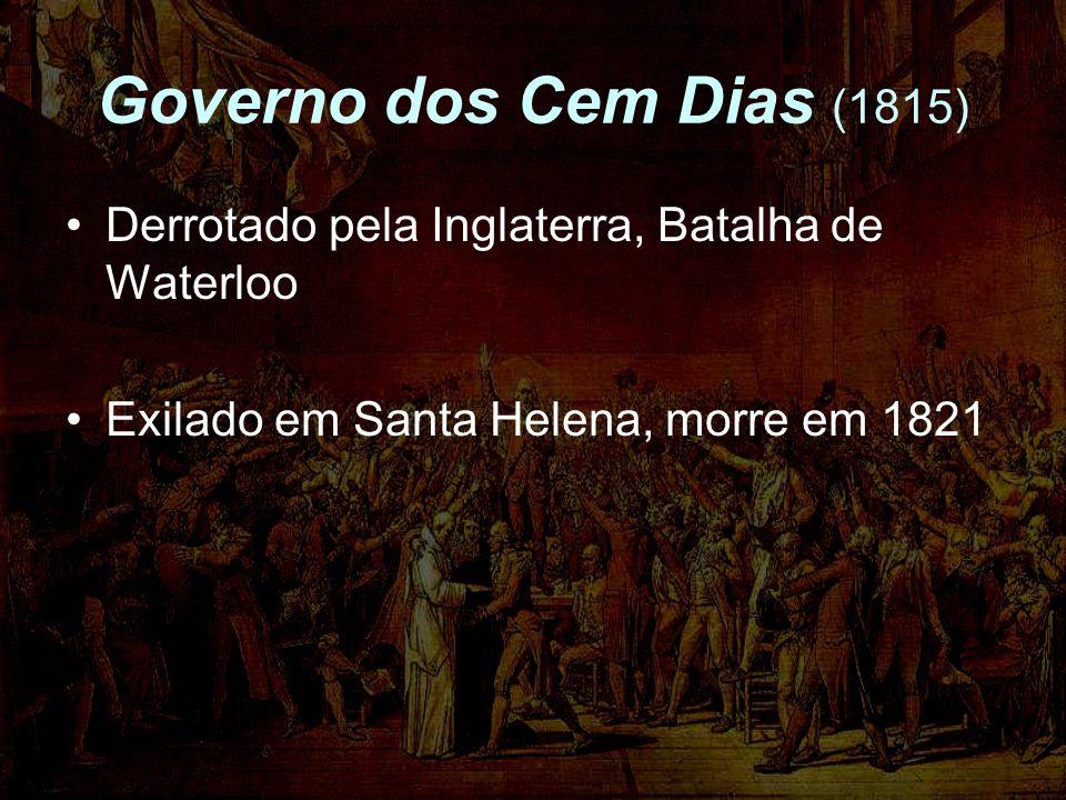 Governo dos Cem Dias (1815) Derrotado pela Inglaterra, Batalha de Waterloo.