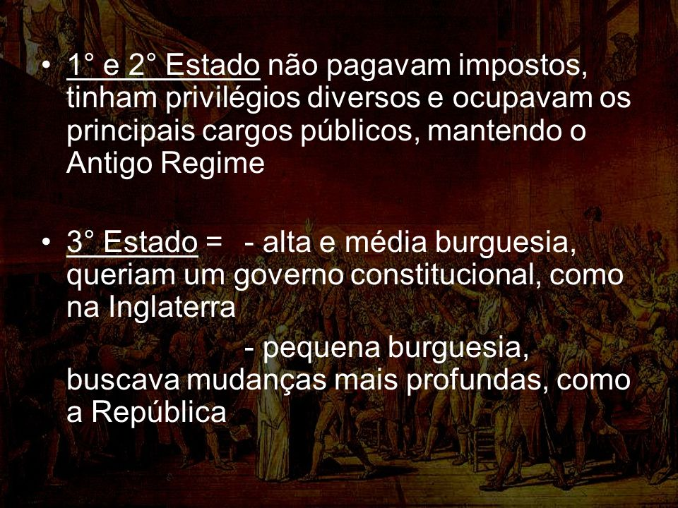 1° e 2° Estado não pagavam impostos, tinham privilégios diversos e ocupavam os principais cargos públicos, mantendo o Antigo Regime