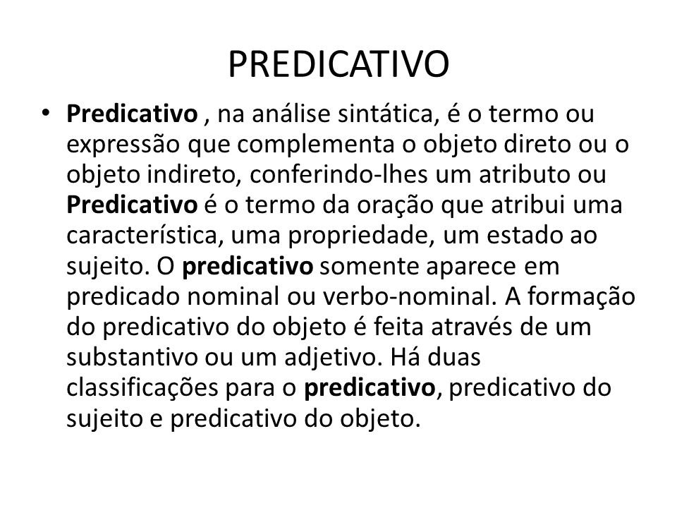 PREDICATIVO