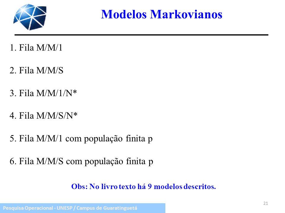 Obs: No livro texto há 9 modelos descritos.