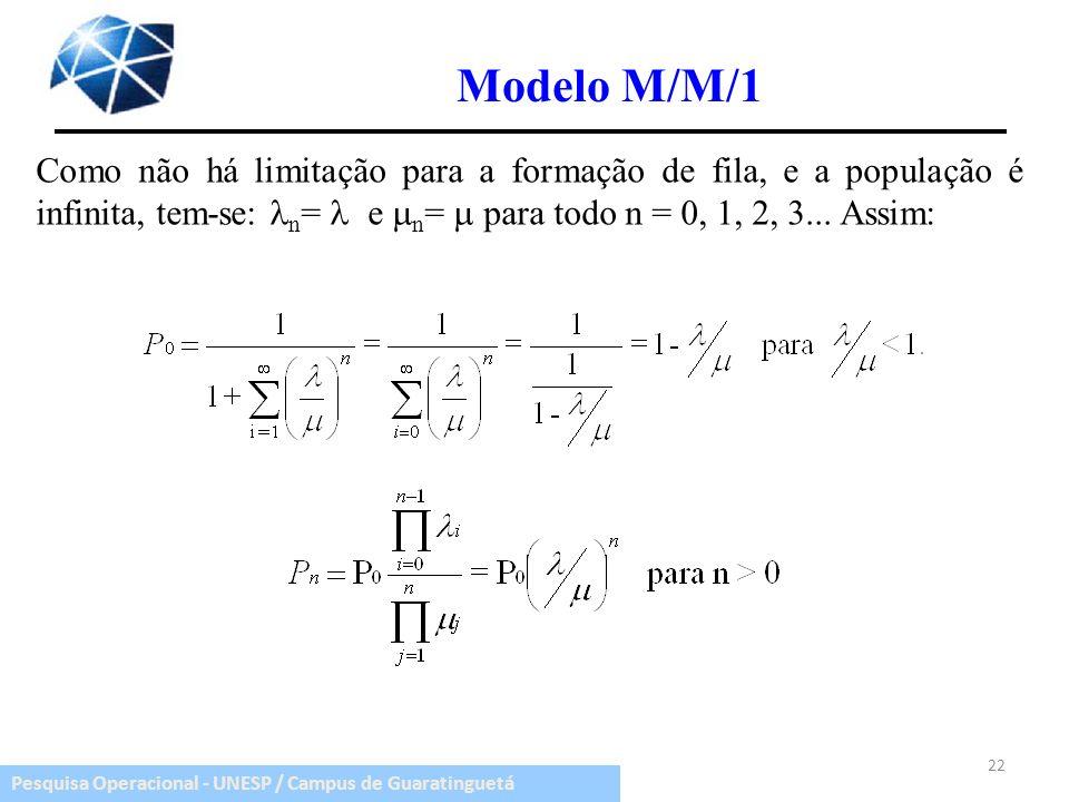 Modelo M/M/1 Como não há limitação para a formação de fila, e a população é infinita, tem-se: n=  e n=  para todo n = 0, 1, 2, 3...