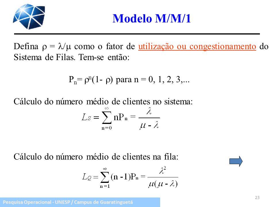 Modelo M/M/1 Defina  = / como o fator de utilização ou congestionamento do Sistema de Filas. Tem-se então: