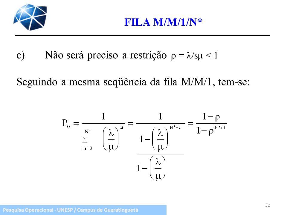 FILA M/M/1/N* c) Não será preciso a restrição  = /s < 1.