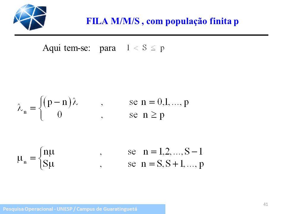 FILA M/M/S , com população finita p