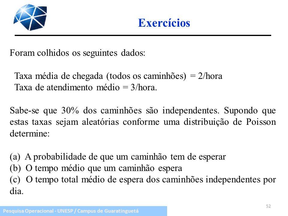 Exercícios Foram colhidos os seguintes dados: