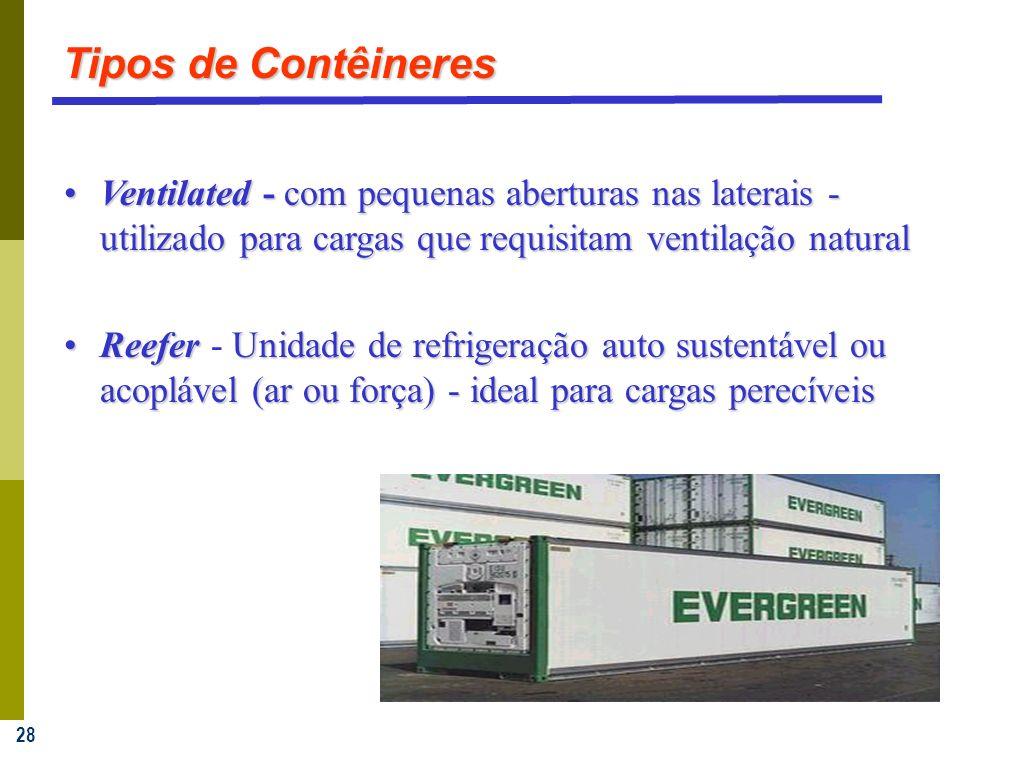 Tipos de Contêineres Ventilated - com pequenas aberturas nas laterais - utilizado para cargas que requisitam ventilação natural.
