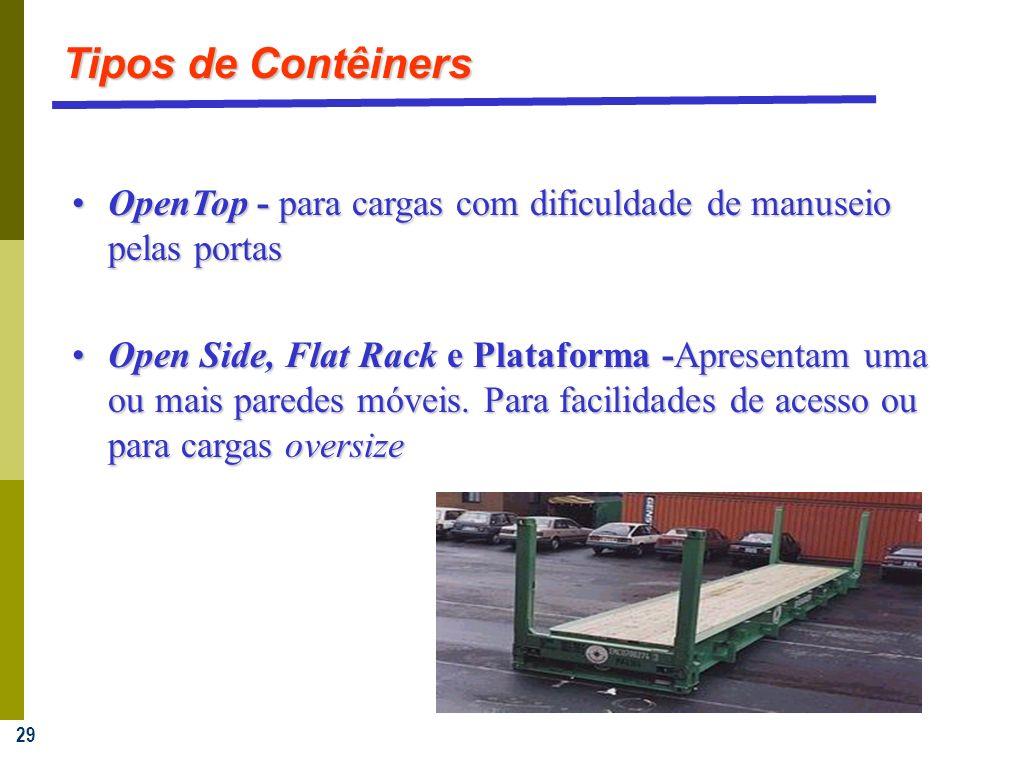 Tipos de Contêiners OpenTop - para cargas com dificuldade de manuseio pelas portas.