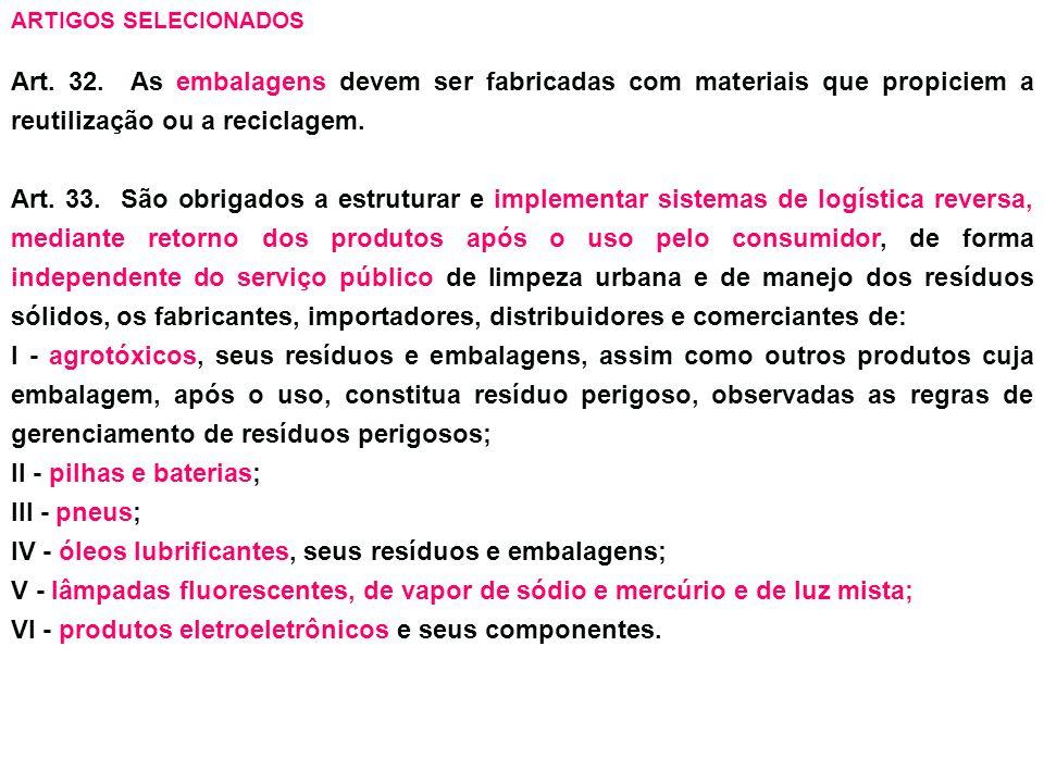 IV - óleos lubrificantes, seus resíduos e embalagens;