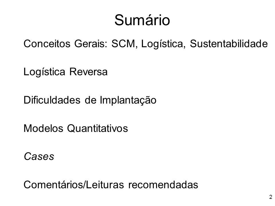 Sumário Conceitos Gerais: SCM, Logística, Sustentabilidade