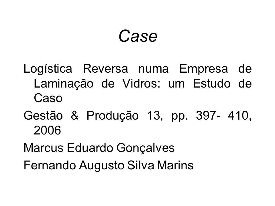 CaseLogística Reversa numa Empresa de Laminação de Vidros: um Estudo de Caso. Gestão & Produção 13, pp. 397- 410, 2006.
