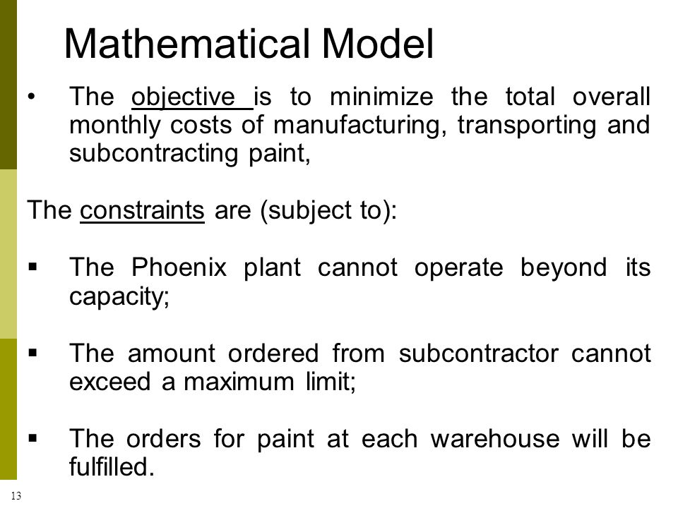 Mathematical Model The objective is to minimize the total overall monthly costs of manufacturing, transporting and subcontracting paint,