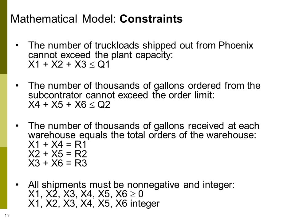 Mathematical Model: Constraints