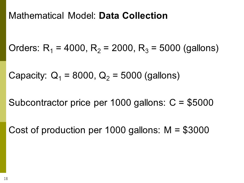 Mathematical Model: Data Collection