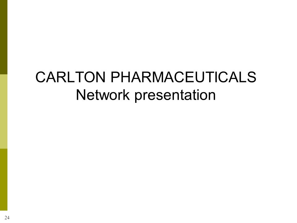 CARLTON PHARMACEUTICALS Network presentation