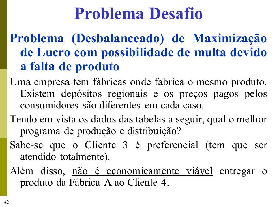 Problema DesafioProblema (Desbalanceado) de Maximização de Lucro com possibilidade de multa devido a falta de produto.