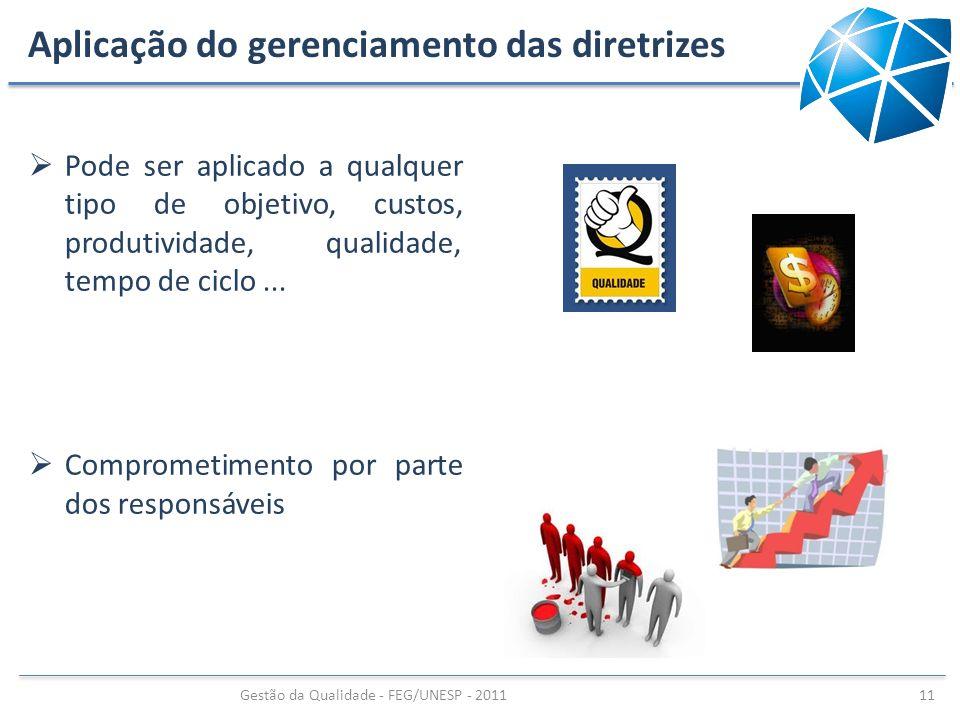 Aplicação do gerenciamento das diretrizes