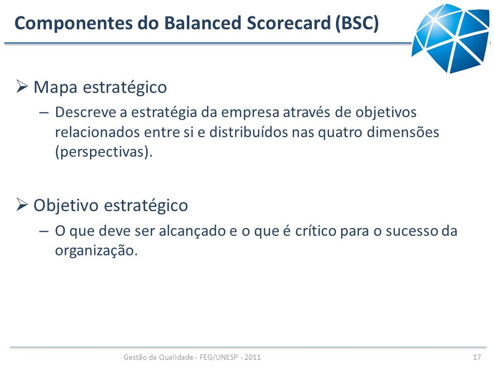 Componentes do Balanced Scorecard (BSC)