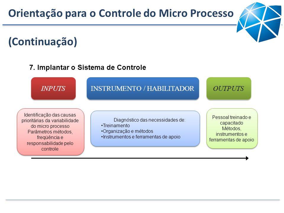 Orientação para o Controle do Micro Processo (Continuação)