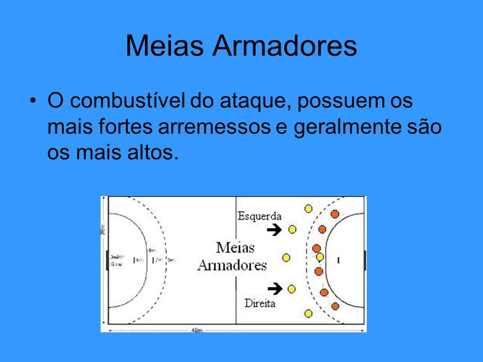 Meias ArmadoresO combustível do ataque, possuem os mais fortes arremessos e geralmente são os mais altos.